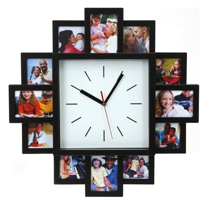 shoppi - Horloge murale PLATINET SUNSET CLOCK avec cadre pour photos