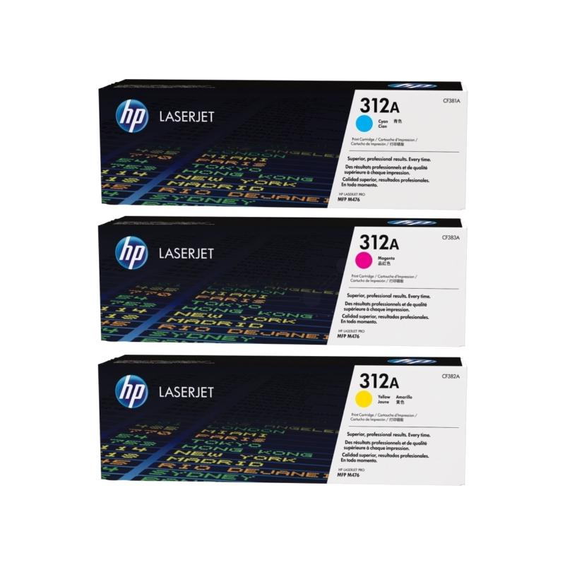 shoppi - Pack de 3 toners LaserJet authentiques, cyan/magenta/jaune HP 312A