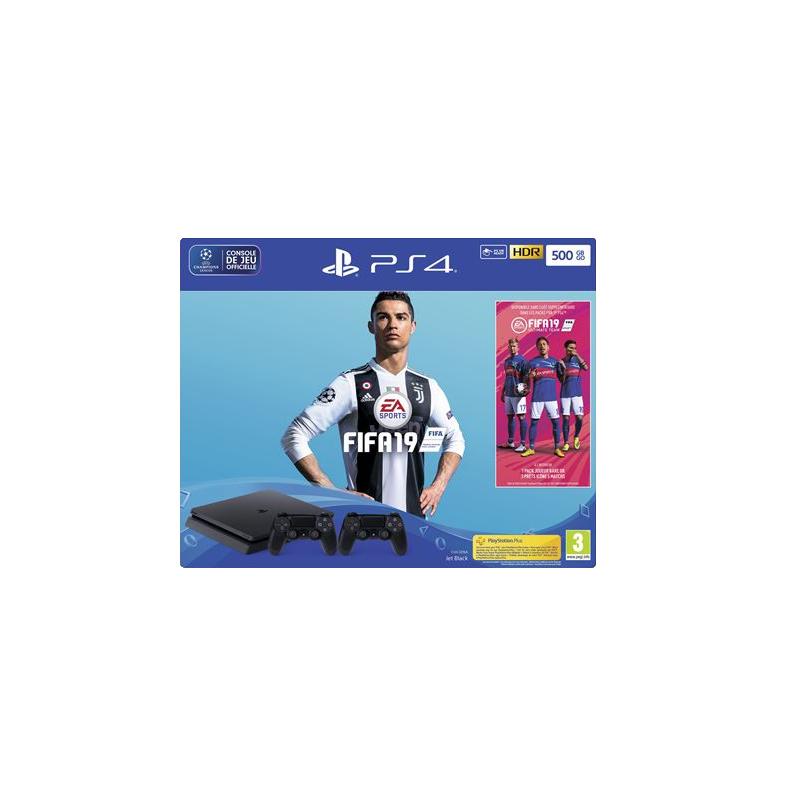 shoppi - Pack Sony Console PS4 Slim 500 Go Noir + FIFA 19 avec deux manettes