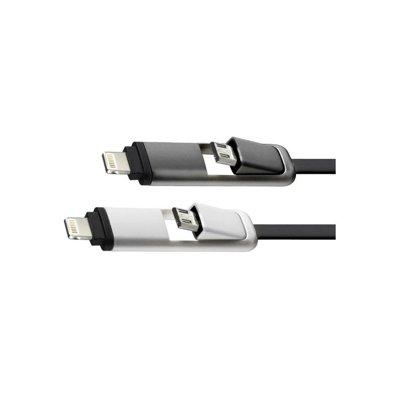 shoppi - CÂBLE PLAT CLIPTEC DUAL MODE 2 EN 1 USB VERS MICRO-USB pour iPhone et Samsung