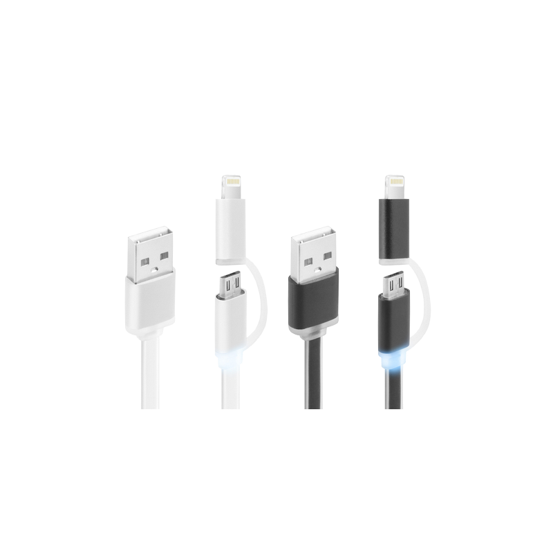 shoppi - CÂBLE PLAT CLIPTEC LUMILUX 2 EN 1 USB VERS MICRO-USB LIGHTNING Pour iPhone et Samsung
