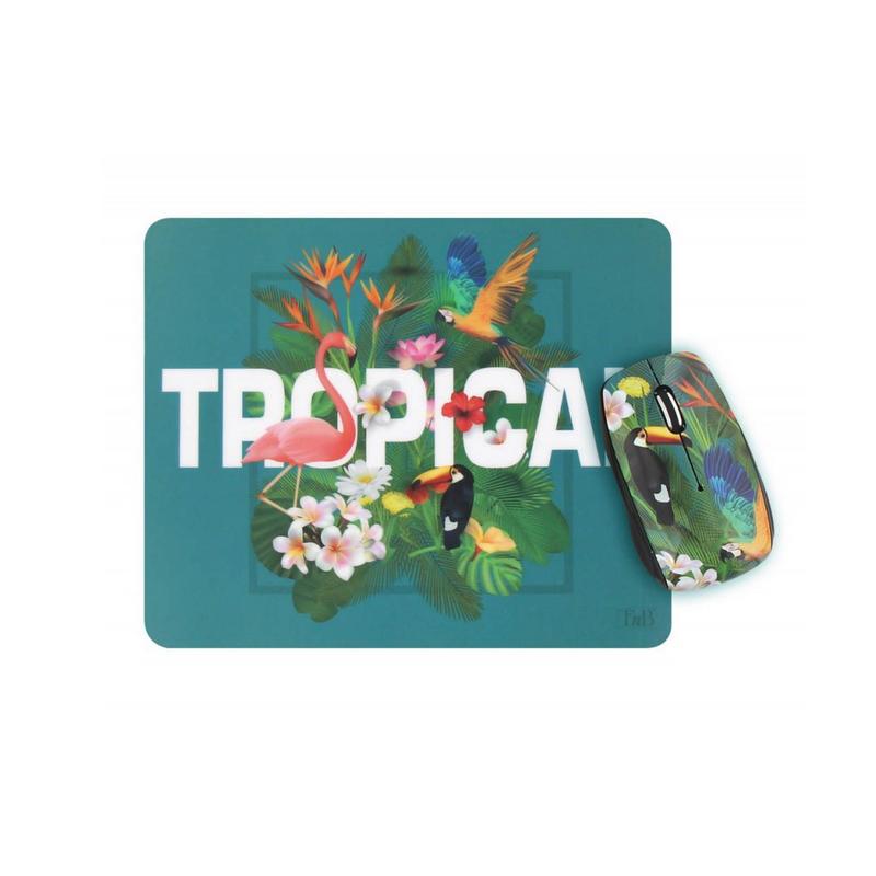 shoppi - Ensemble souris sans fil et tapis de souris TROPICAL T'nB