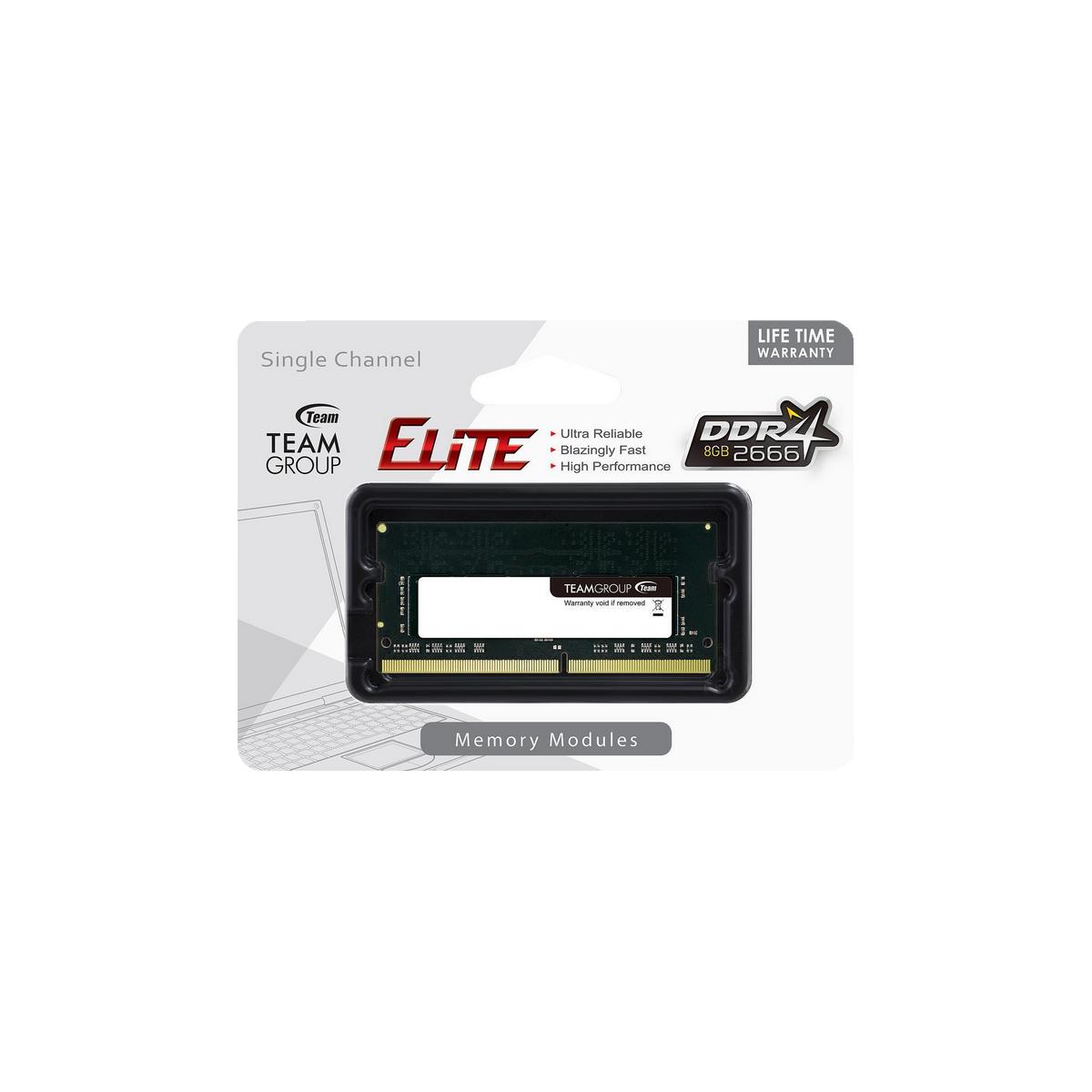 shoppi - Barrette  Mémoire TEAM GROUP ELITE SO-DDR4 8GB 2666Mhz