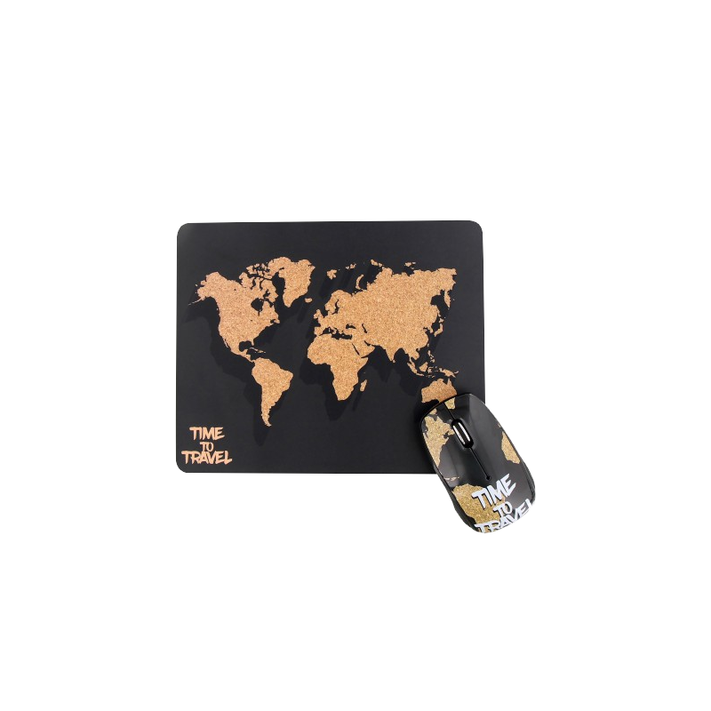 shoppi - Ensemble souris sans fil et tapis de souris  WORLD MAP T'nB