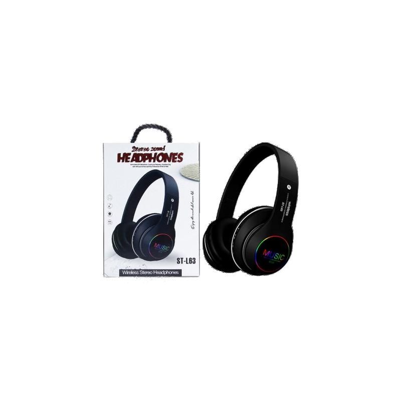 shoppi - Casque sans fil Bluetooth brillant pliable avec micro ST-L63