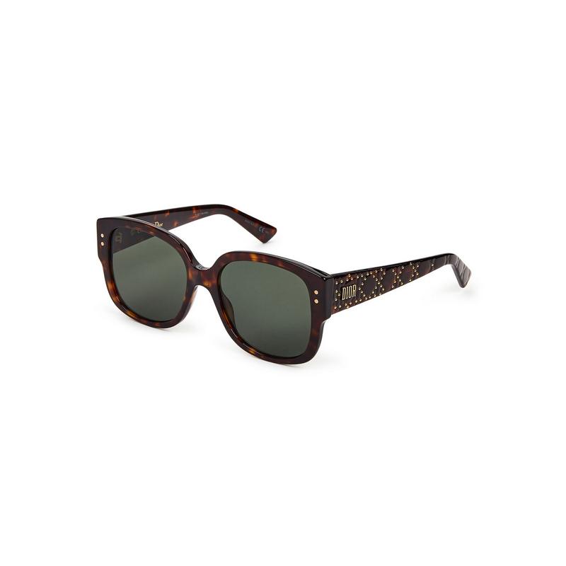shoppi - Lunettes de soleil carrées effet écaille de tortue Lady Dior Studs